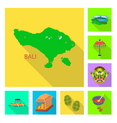 Isolated object of bali and indonesia icon set of vector
