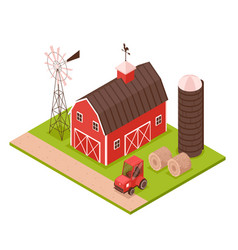 isometric farm building composition vector image