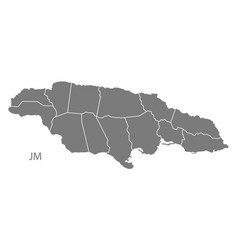 Jamaica with parishes map grey vector