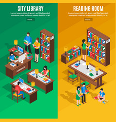 Library isometric vertical banners vector