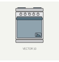 Line flat color kitchenware icons - oven vector