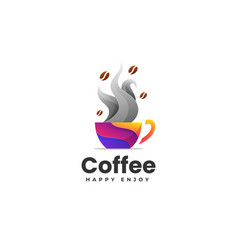 Logo coffee gradient colorful style vector