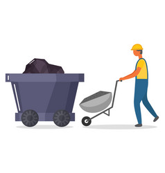 man working on mining industry miner with cart vector image