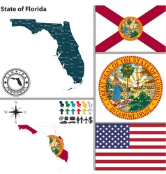 map florida with seal vector image