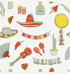 mexican cinco de mayo carnival seamless pattern vector image
