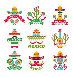 Mexican labels set colored designs of vector