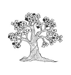 money tree sketch engraving vector image