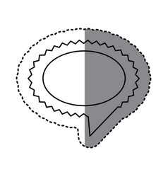 monochrome sticker of oval speech with sawtooth vector image