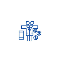 multi tasking problemman with money line icon vector image