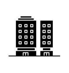 Multiapartment complex black glyph icon vector