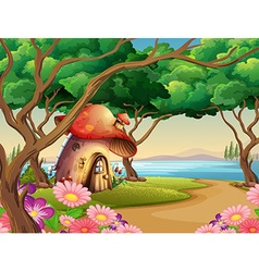 Mushroom house by the lake vector image