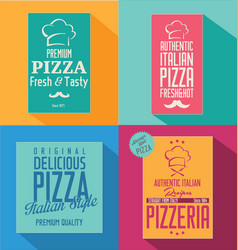 pizza banner flat retro design vector image