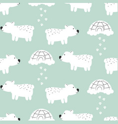 polar bear cute seamless pattern vector image