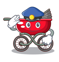 Police cartoon baby stroller walk in the park vector