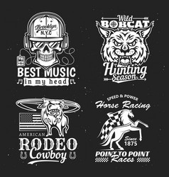 Print on t-shirt music hunting racing and rodeo vector