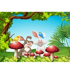 Rabbits and birds in the garden vector image