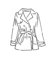 Raincoat monochrome sketch hand drawing black vector