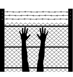 raised hands and barbed wire prison boundary vector image