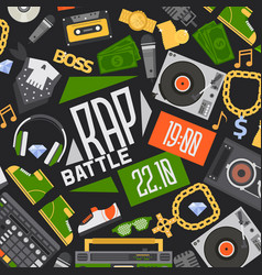 rap music seamless pattern dj playing disco vector image