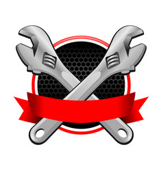 Red colored ribbon wrench cross emblem vector