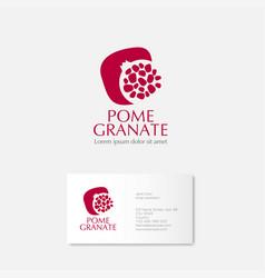 Red pomegranate grains logo card vector