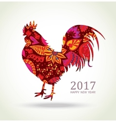 Red Rooster New Year Greeting Card vector