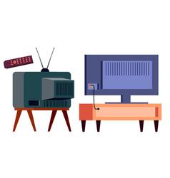retro tv vs modern hd plasma backside lcd vector image