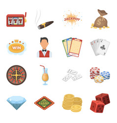 Roulette cards croupier alcohol and other vector