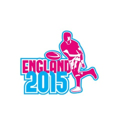 Rugby Player Passing Ball England 2015 Retro vector image