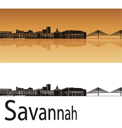 Savannah skyline in orange background vector