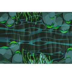 Scene of pond with rocks and plants vector