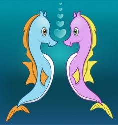 seahorse love vector image