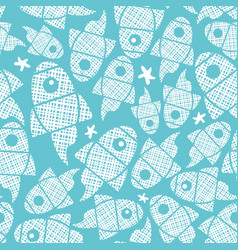 seamless pattern with abstract fishes in blue vector image