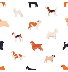 seamless pattern with dogs of various breeds on vector image