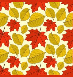Seamless pattern with maple and elm autumn leaves vector