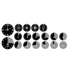 set - analog clock with arrows stopwatch with vector image
