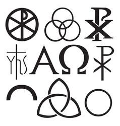 Set christian symbols vector