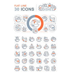 Set line icons dishes vector