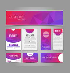 Set of pink corporate style polygonal vector image