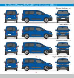 Set standard l1 passenger mini vans 2018 vector
