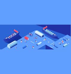 shipping yard isometric flat vector image