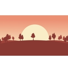 Silhouette of tree lined ladnscape backgrounds vector