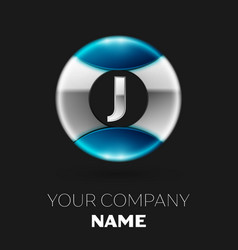 silver letter j logo symbol in silver-blue circle vector image