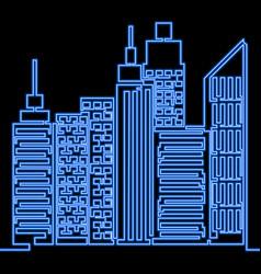 single continuous line neon city outline landscape vector image