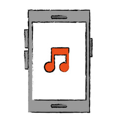 smartphone device with music note vector image