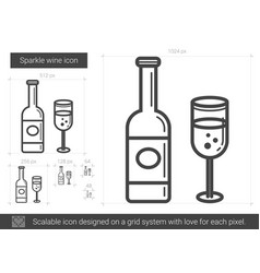 Sparkle wine line icon vector