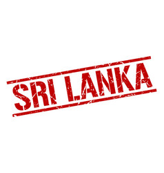 Sri lanka red square stamp vector