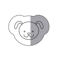 Sticker of grayscale contour with face of dog vector