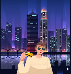 Stylish rich guy wearing sunglasses at bright vector