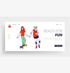 teens couple characters landing page template vector image